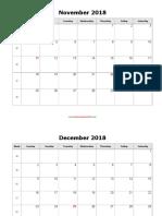 Monthly 2018 Calendar Blank Landscape
