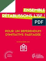 Livret de présentation du référendum sur le rétablissement de l'ISF