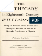 The Apothecary in Eighteenth-Century Williamsburg by Thomas K. Ford