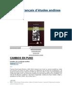 Libro Cambios en Puno 1963 -Francia Original