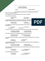 General Psychology Preliminary Examinations