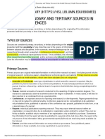 Primary, Secondary and Tertiary Sources in the Health Sciences