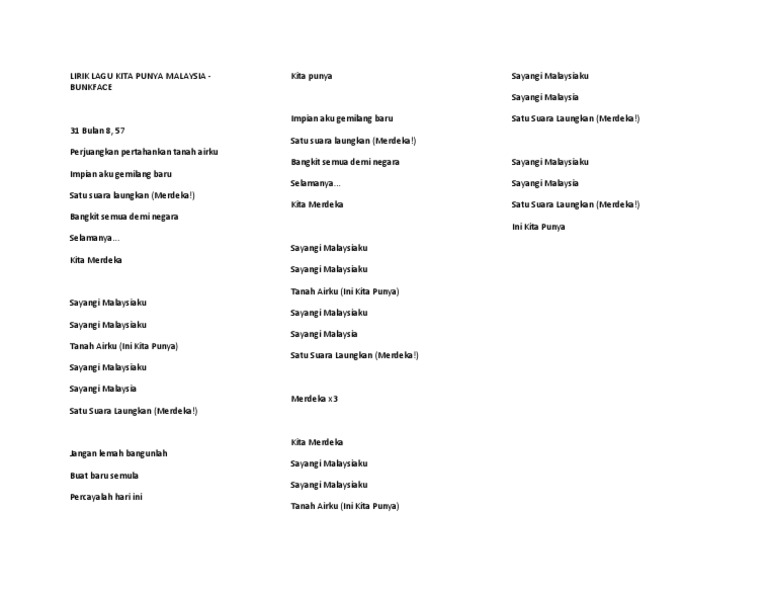Lirik Lagu Kita Punya Malaysia Docx