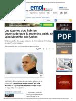 Las Razones Que Habrían Desencadenado en La Temprana Salida de José Mourino Del United _ Emol.com