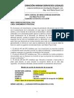 Modelo de Escrito Judicial de Absolución de Excepción - Autor José María Pacori Cari
