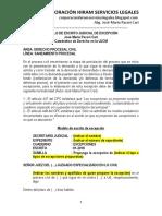 Modelo de Escrito Judicial de Excepción - Autor José María Pacori Cari