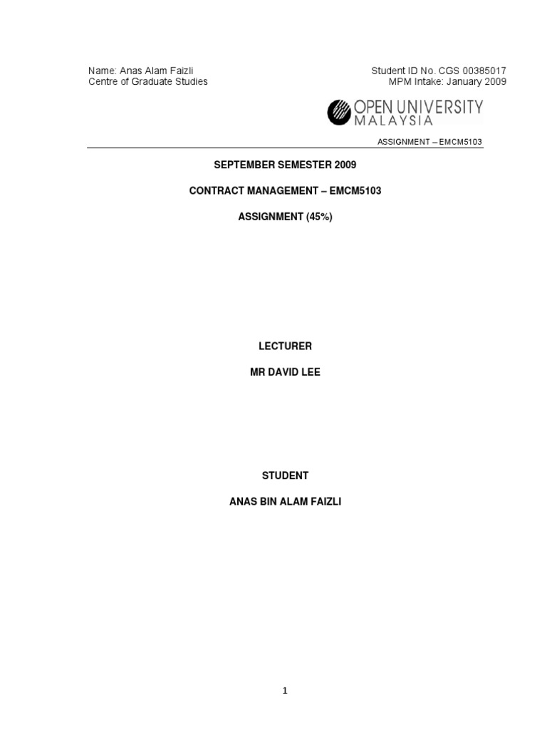 Assignment Project Contract Management - Mr Anas Alam Faizli ...