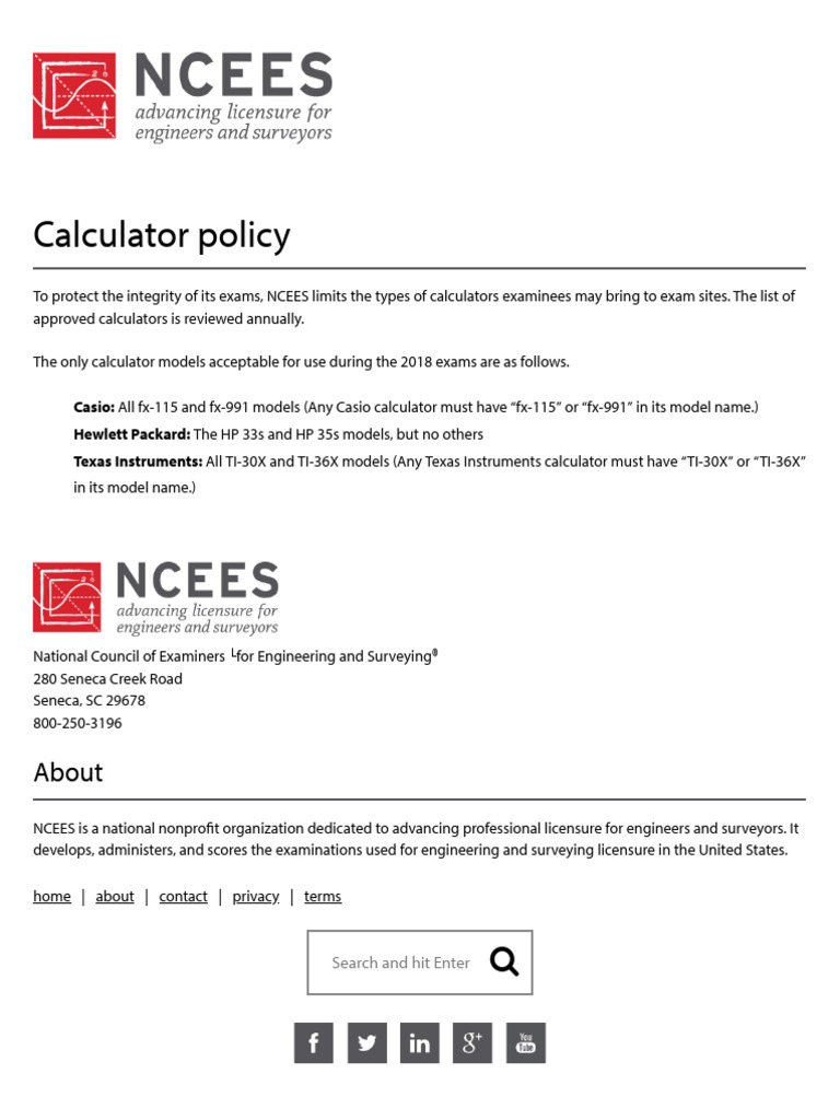 NCEES Calculator Policy
