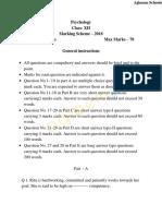 CBSE Class 12 Sample Paper Marking Scheme 2018 – Psychology