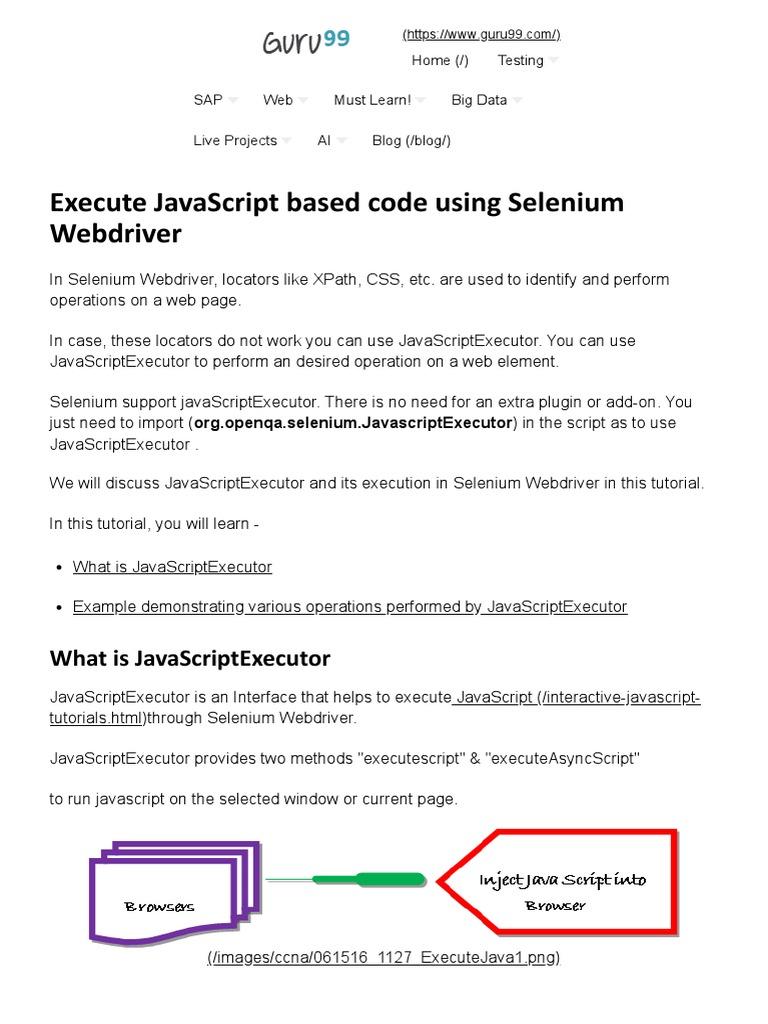 Execute JavaScript Based Code Using Selenium Webdriver