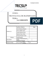 Rubrica de Tecnología de Materiales -LA CORROSIÓN
