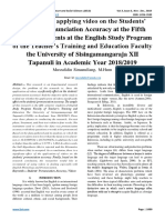 The effect of applying video on the Students' English Pronunciation Accuracy at the Fifth Semester Students at the English Study Program of the Teacher's Training and Education Faculty the University of Sisingamangaraja XII Tapanuli in Academic Year 2018/2019