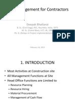 Site management by Contractors