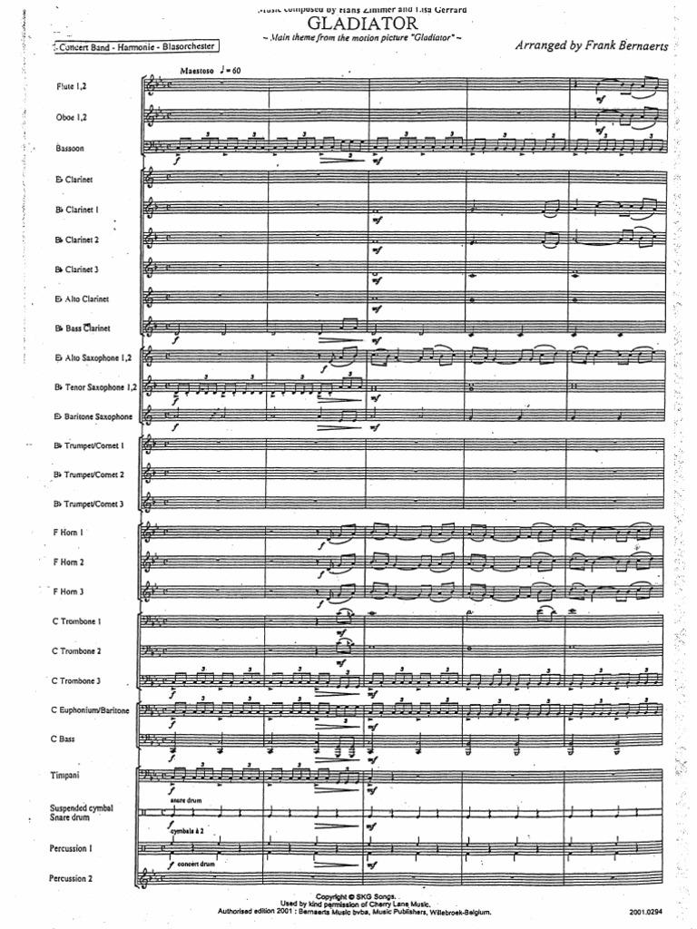 Zimmer hans gladiator full orchestra score 42p for Gladiator hans zimmer