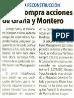 SOROS COMPRA ACCIONES DE GRAÑA Y MONTERO