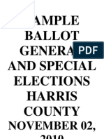 Sample Ballot, November 2010, Harris County Texas