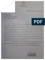 La carta de renuncia de Pedro Cantini