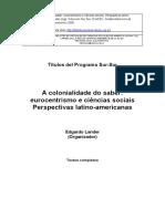 Colonialidade Do Saber Eurocentrismo Ciencias Sociais