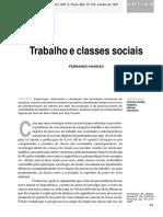 Trabalho e Classes Sociais - Haddad