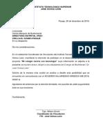 Carta de Intención Para Proyecto de Vinculación