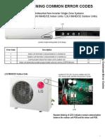 LG  Air Conditioners common error codes