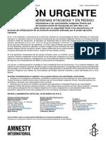 Amnistía Internacional (Acción Urgente) Comunidades indígenas atacadas y en riesgo