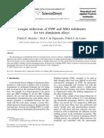 Fatigue Behaviour of FSW and MIG Weldments