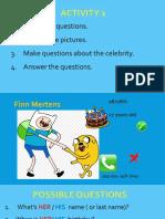 Celebrities Introductions speaking practice