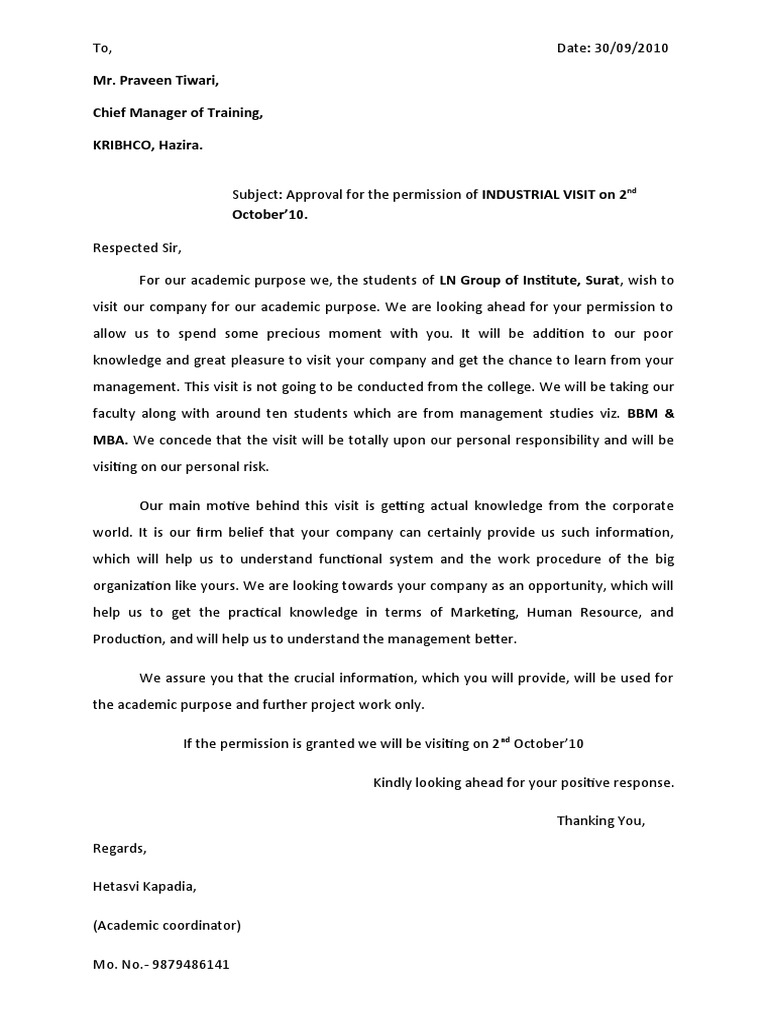 Letter asking permission to visit Term paper Academic Writing ...