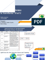 Scoring Systems in Anesthesia and PACU