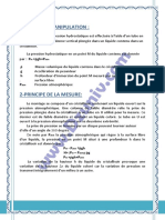 TP 1 MDF  + compte rendu _ la mesure de la pression hydrostatique - Mécanique des Fluides 6253 NO