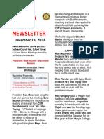 Rotary Club of Moraga Newsletter for Dec 18 2018