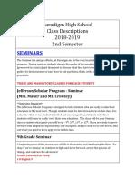 high school class descriptions 2018-19 - 2nd semester  1