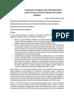 Comunicado -México Indefenso ante el Cambio Climático -- #PresupuestoAmbiental2019