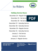 City of WL/BC Transit 2018 Holiday Service Schedule