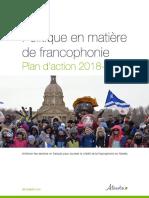 ALBERTA_Plan d'Action de La Politique en Matière de Francophonie 2018_2021