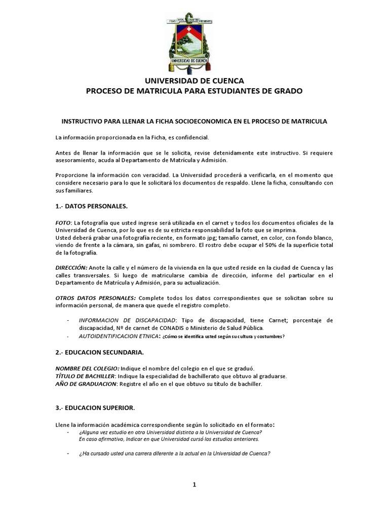 Instructivo Para Llenar La Ficha Socioeconomica 2018 1