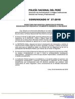 COMUNICADO PNP N° 37 - 2018