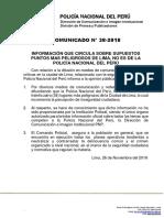 COMUNICADO PNP N° 38 - 2018