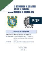 Informe Unidad de Albañileria