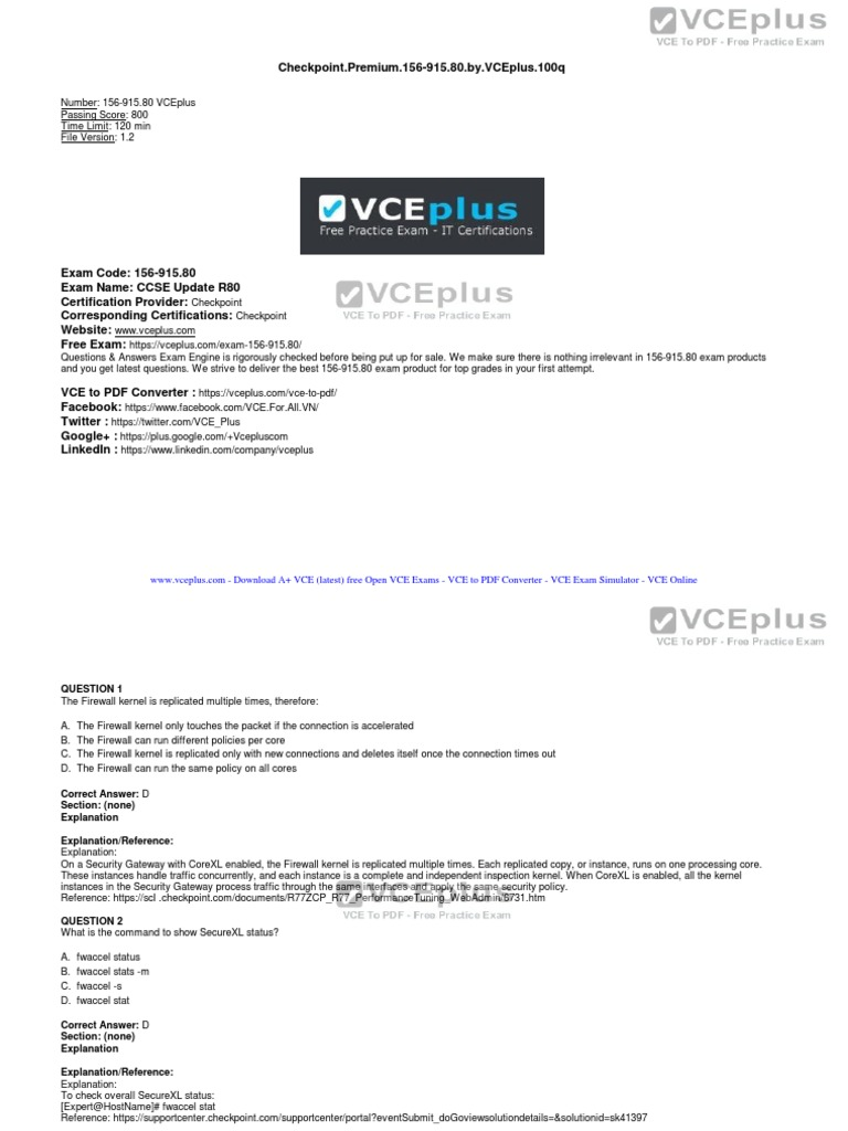 Checkpoint premium 156 915 80 by vceplus 100q | Virtual Private