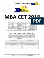 MBA CET 2018 Question Paper MAH MBA MMS DTE With Solution