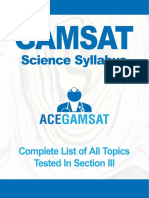 Gamsat Science Syllabus Updated