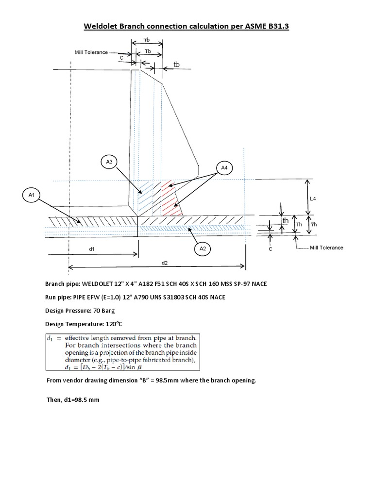 Weldolet Branch Connection Calculation | Pipe (Fluid