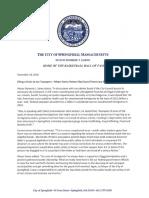Mayor Domenic Sarno's Veto Message for WCT Ordinace