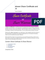 Difference Between Share Certificate and Share Warrant