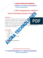 Transformerless DVR Topology Based on Multilevel Inverter with Reduced Number of Switches