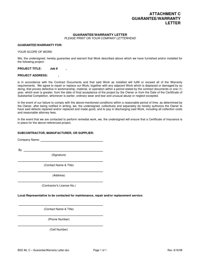 Bsd sample warranty letter for Workmanship guarantee template
