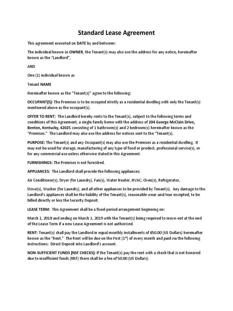 Standard Lease Agreement Leasehold Estate Landlord