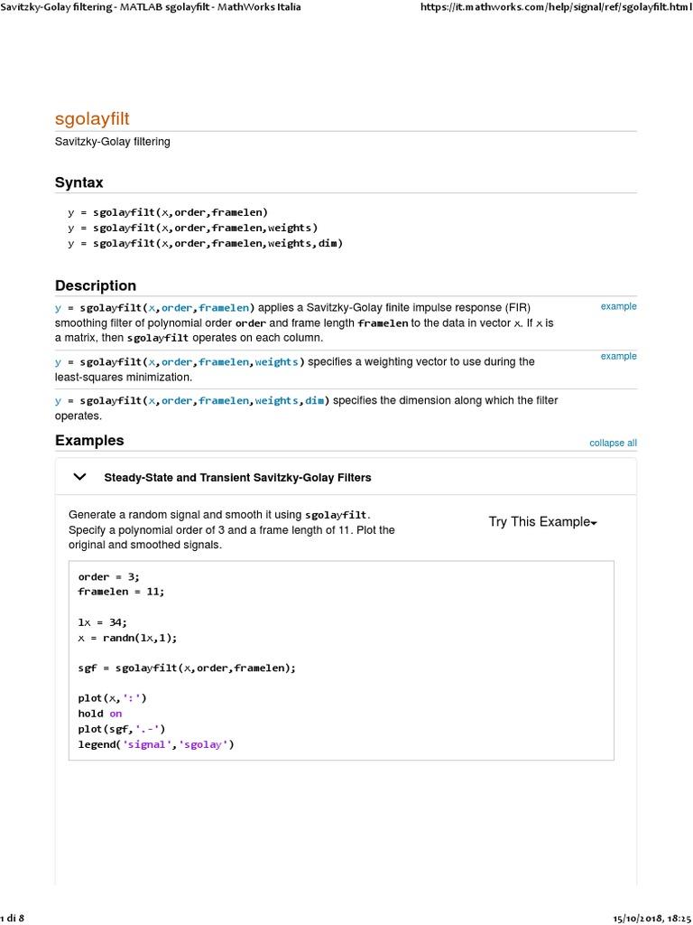 Savitzky-Golay Filtering - MATLAB Sgolayfilt - MathWorks